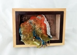 "Ann Recotta ""Losing My Grip"" (View B) 5x7 mixed media framed bead embroidery panel $175."