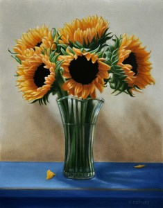 "Valorie Rohver ""Bouquet of Sunflowers"" 14x11 oil $750."