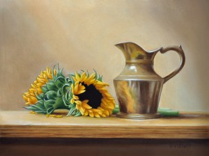 "Valorie Rohver ""Brass Pitcher with Sunflowers"" 9x12 oil $525."