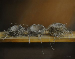 "Valorie Rohver ""Nest Collecting"" 16x20 oil $1,400."