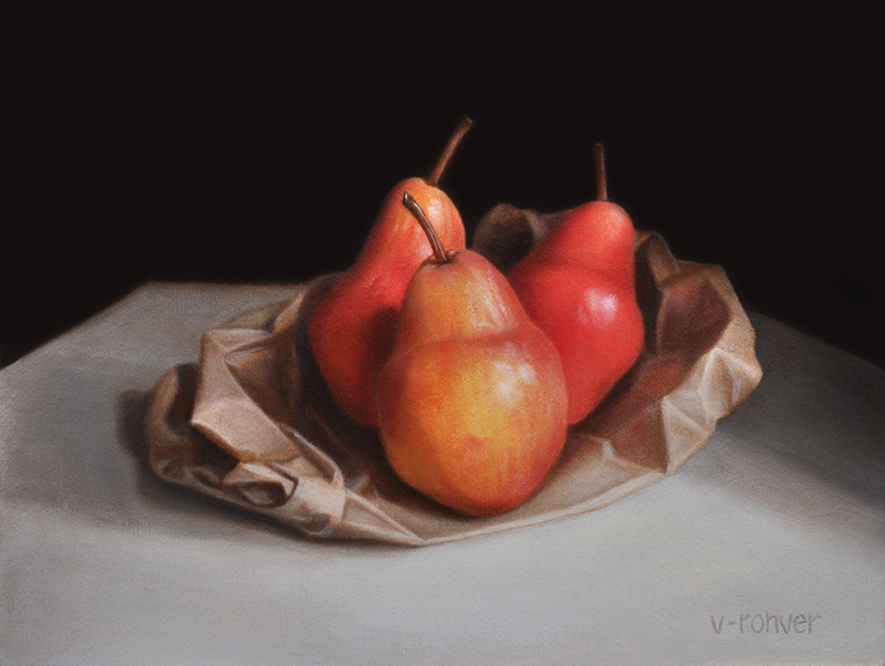 "Valorie Rohver ""Red Pears from the Market"" 9x12 oil $525."