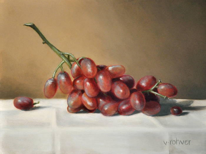 "Valorie Rohver ""Red Table Grapes"" 6x8 oil $295."