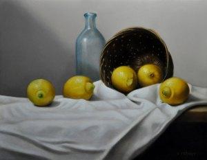 """Valorie Rohver """"Spilled Lemons"""" 11x14 oil $750."""