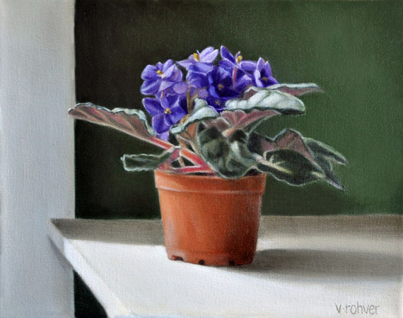 "Valorie Rohver ""The East Window Violets"" 8x10 oil $475."