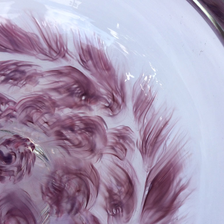 "Aaron Rovner-Buck ""Feather Murrini Bowl - Detail"" 7x7x4 blown glass $280."