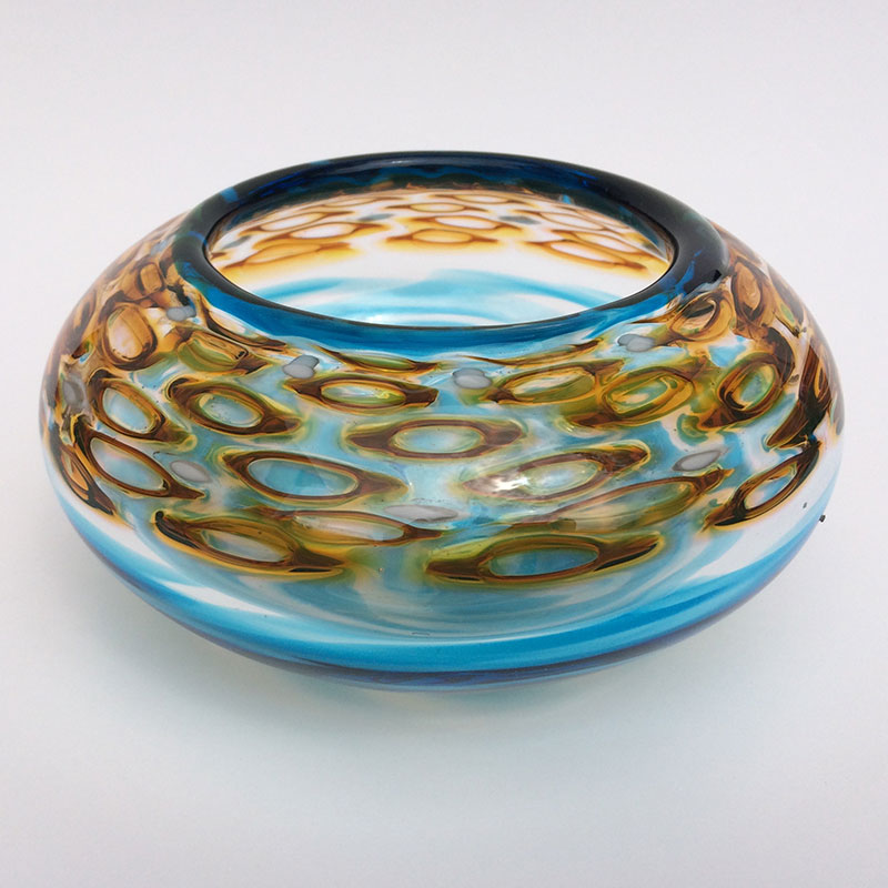 """Honey Murrini and Blue Bowl - Angle"" 8x8x6 blown glass by Aaron Rovner-Buck $200."