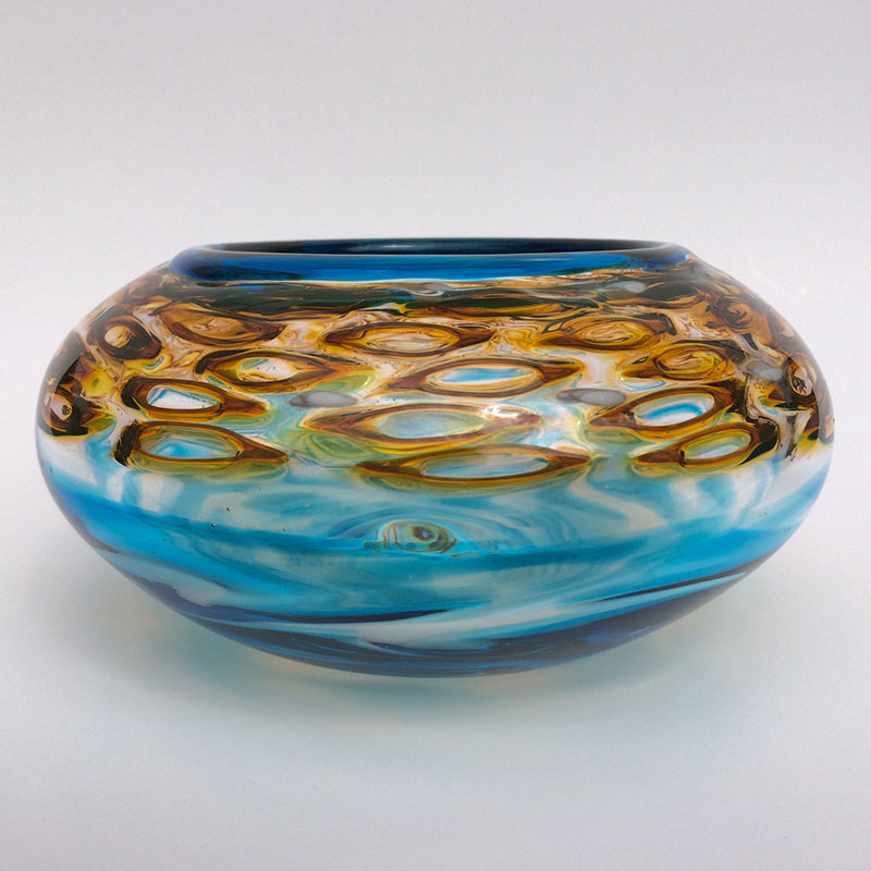 "Aaron Rovner-Buck ""Honey Murrini and Blue Bowl - Side"" 8x8x6 blown glass $200."