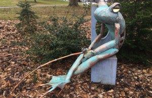 "Jay Seaman ""Fishing Frog"" mixed media sculpture $ Inquire"