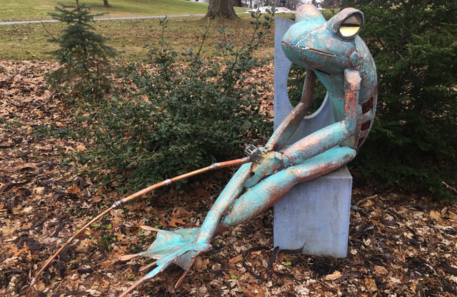 "James Seaman ""Fishing Frog"" mixed media sculpture $ Inquire"