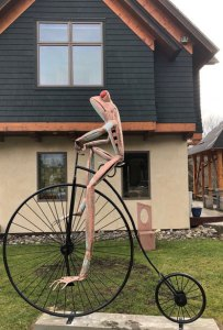 """Jay Seaman """"Unicycle Frog"""" mixed media sculpture $ Inquire"""