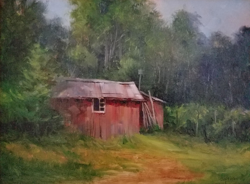 "Judy Soprano ""Back Shed"" 9x12 oil $450."