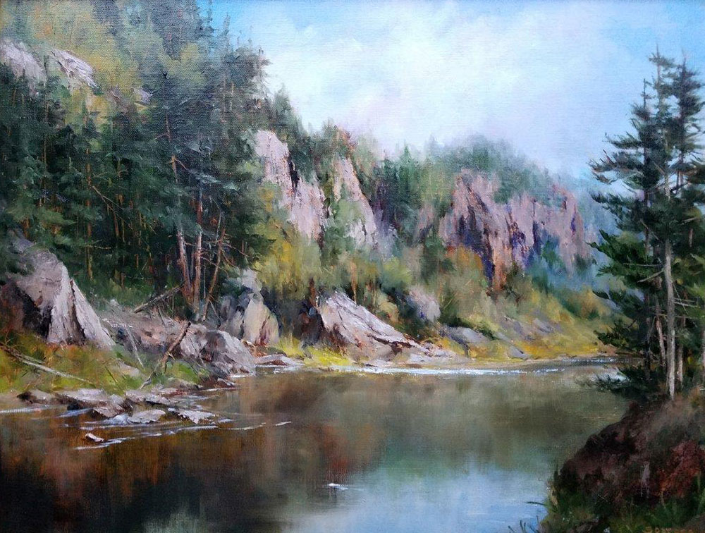 "Judy Soprano ""Bald Mountain Pond"" 18x24 oil $900. SOLD"