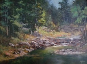 "Judy Soprano ""A Farm Pond"" 18x24 oil $900."