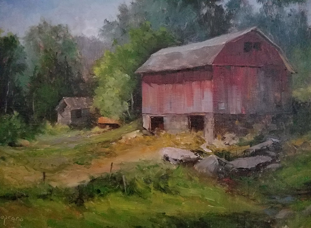 "Judy Soprano ""Morning Chores"" 9x12 oil $450."