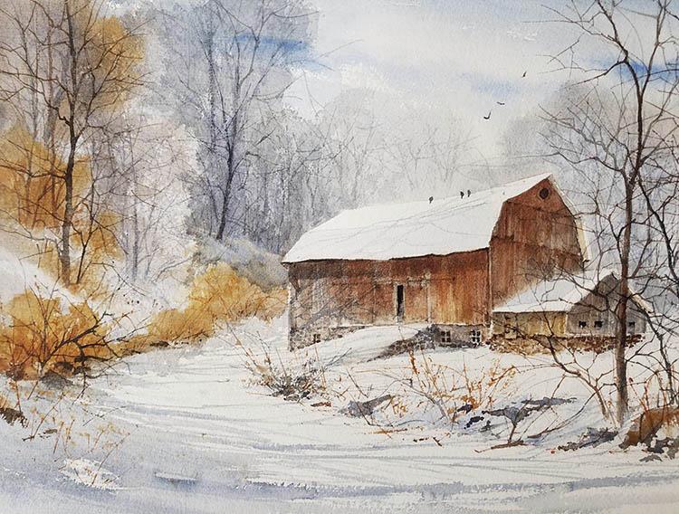 """Judy Soprano """"Nest for Winter"""" 20x27 watercolor $450."""