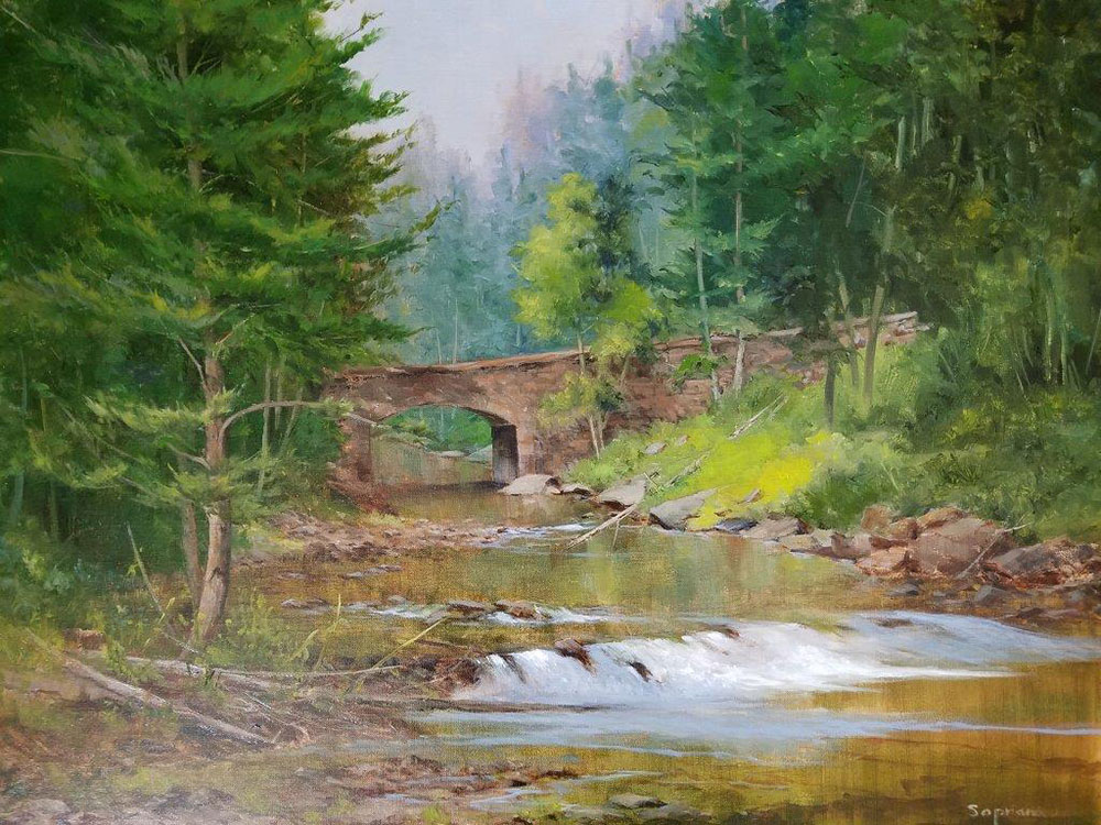 "Judy Soprano ""Summer at Letchworth"" 18x24 oil $900."