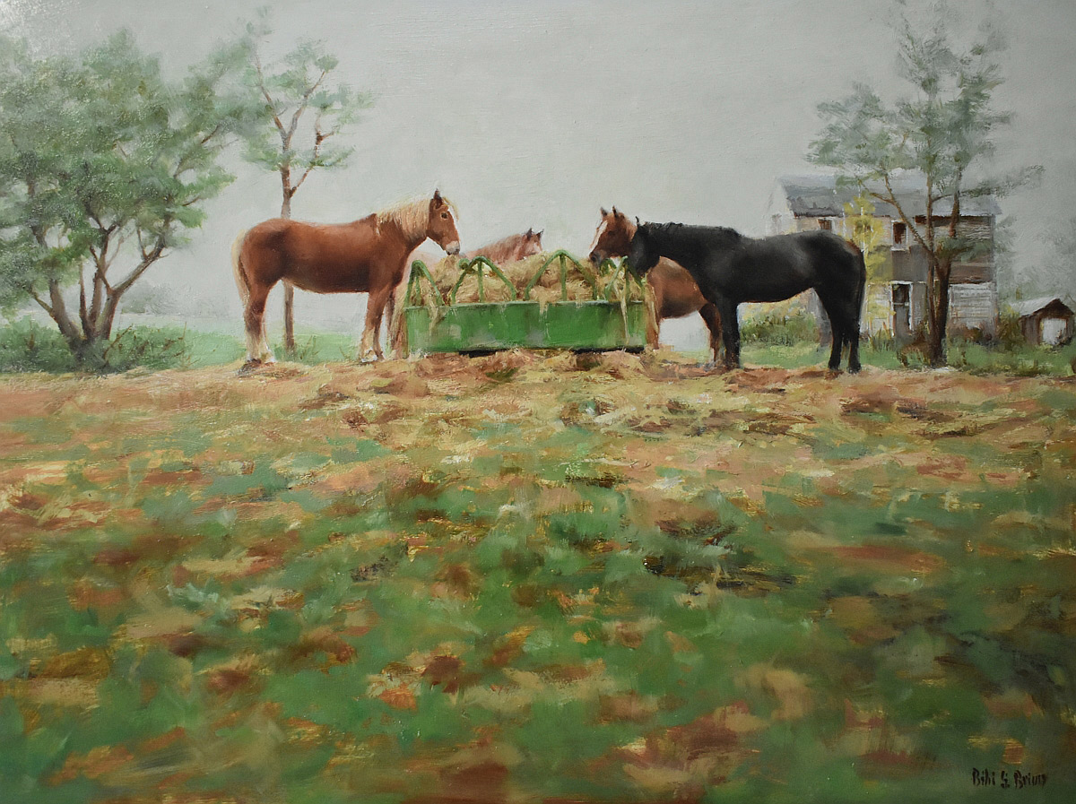 "Bibi S. Brion ""The Horses"" 12x16 oil $1,200."