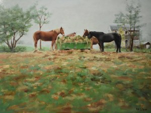 "Bibi S. Brion ""The Horses 12x16 oil $1,200. SOLD"