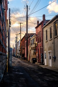 """Chris Walters """"Corning Alleyway Sunset"""" inquire for available ordering"""