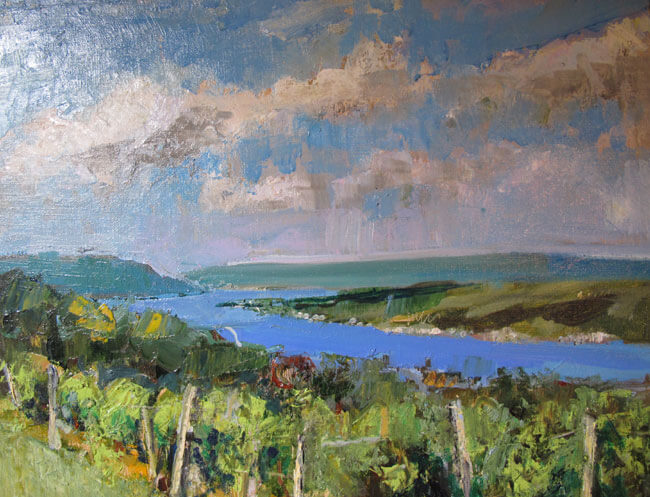 "Bruce Baxter ""Crooked Lake Vineyards"" 16x20 oil $950"