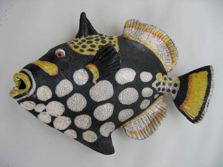 "lAan and Rosemary Bennett ""Clown Triggerfish"" raku fired"