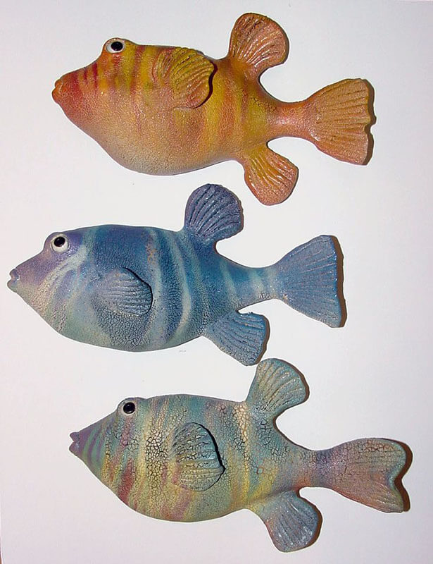 "Alan and Rosemary Bennett ""Various Puffers"" fish glaze"