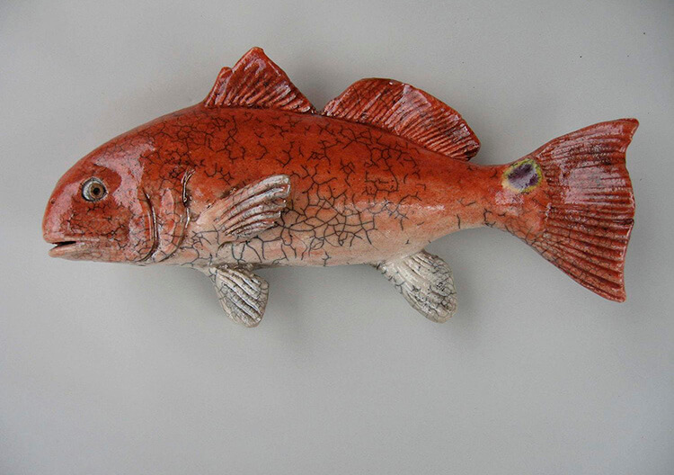 "Alan and Rosemary Bennett ""Red Drum"" raku fired"