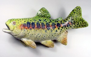 "Alan and Rosemary Bennett ""Trout III"" raku fired"