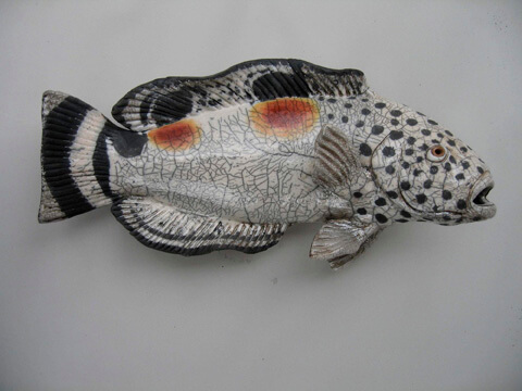 "Alan and Rosemary Bennett ""Juvenile Wrasse"" raku fired"