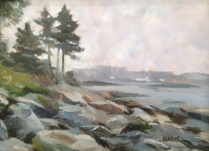 "Anne L. Bialke ""Gray Day on the Cove"" 5x7 oil $225."