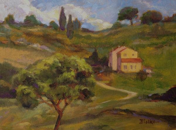 "Anne L. Bialke ""In Tuscany"" 6x8 oil $285."