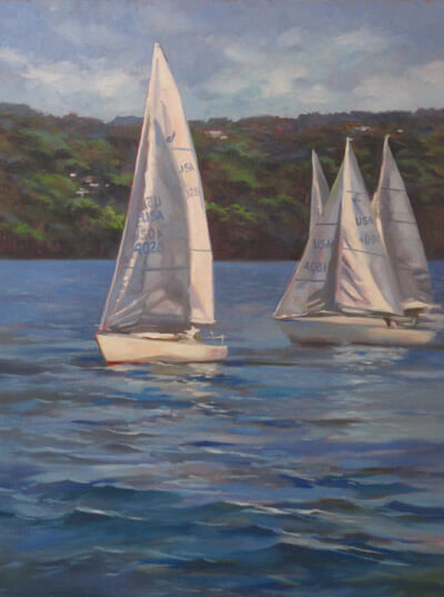 "Anne. L. Bialke ""Silver Sails"" 24x18 oil $1200."
