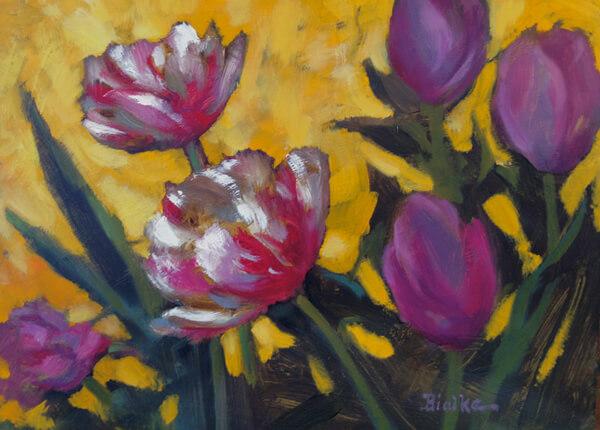 "Anne L. Bialke ""Tulips Singing"" 6x8 oil $265."