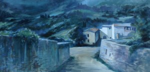 "Anne Bialke ""Tuscany by Moonlight"" 12x24 oil $775."