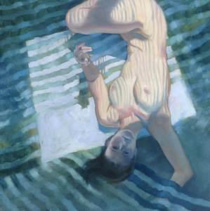 "Anne Bialke ""Venetian Blinds"" 18x18 oil $950."