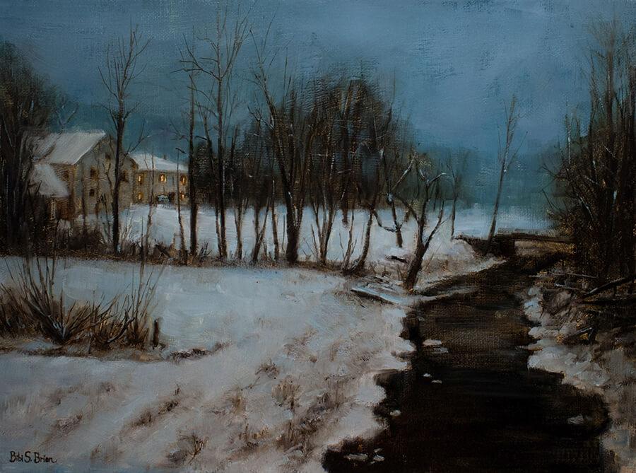 """Bibi S. Brion """"Nocturne in Nauvoo"""" 12x16 oil $1,500"""