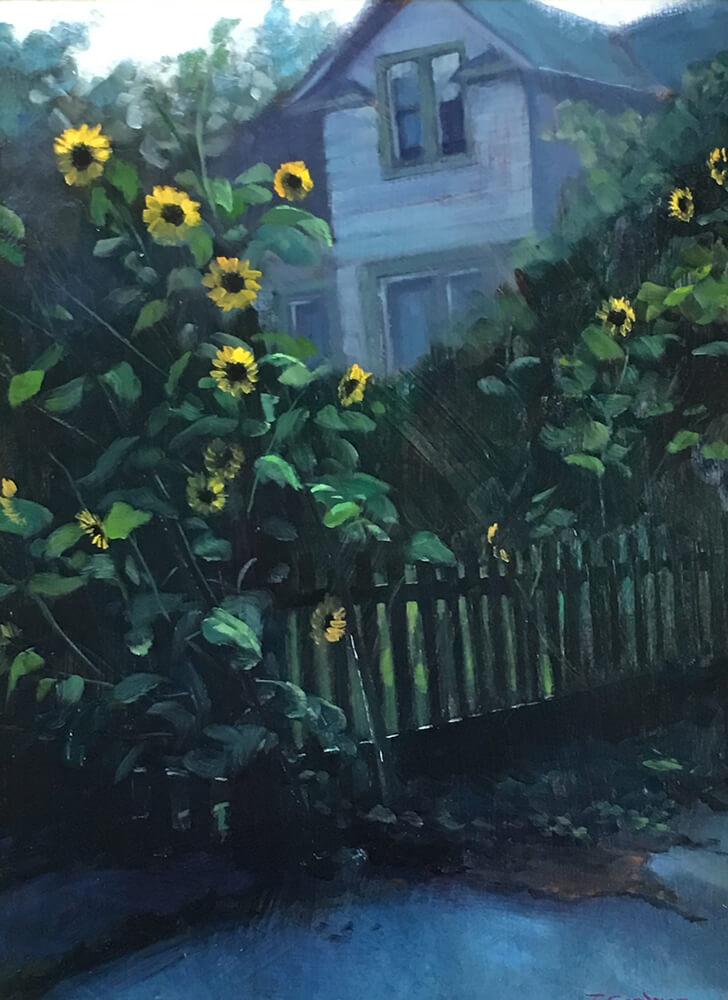 "Tom Gardner ""Sunflowers"" 16x12 oil $1,050. SOLD"