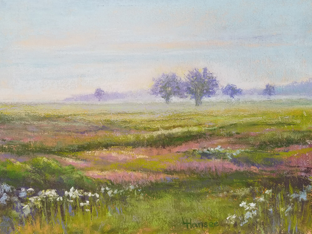 "Linda Hansee ""Early Morning at Montezuma Wildlife Refuge"" 8.5x11.5 pastel $375."