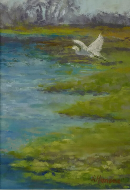 "Linda Hansee ""Taking Flight"" 7x5 pastel $250"