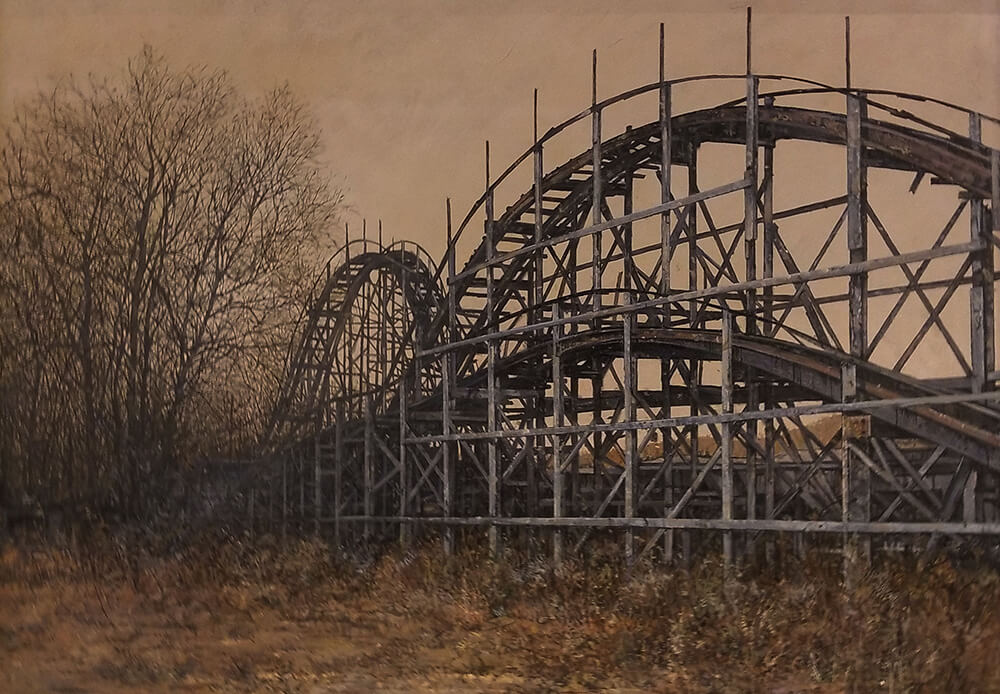 "David Higgins ""Rollercoaster"" (based on photo by Renee Berry) 24x33.5 oil $3,500. SOLD"