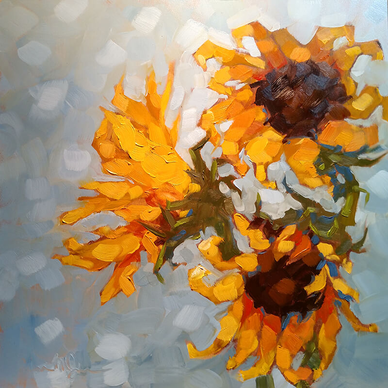 "Christina Johnson ""Burst"" 12x12 oil $250"