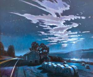 "Brian Keeler ""Moonlit Bales Over Keuka"" 30x36 oil $3,400."