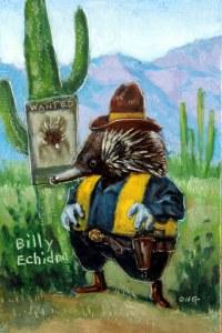 """Wilson Ong """"Billy Echidna"""" 6x4 oil $200"""