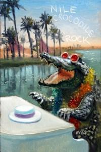 "Wilson Ong ""Nile Crocodile Rock"" 6x4 oil $200"