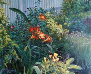 """James Ramsdell """"Day Lilies"""" 20x24 oil $1,500."""