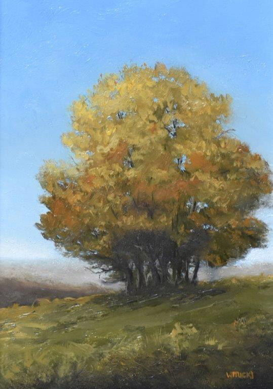 "Sean Witucki ""Fall Hilltop"" 7x5 oil $350."