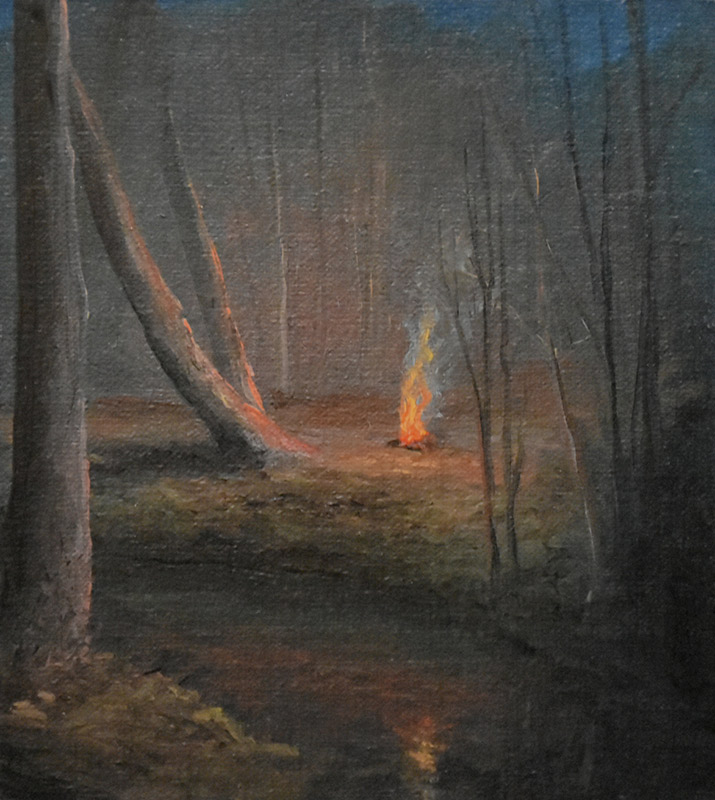 "Sean Witucki ""Study #2 - Lost in the Woods"" 5x4 oil/linen $400."