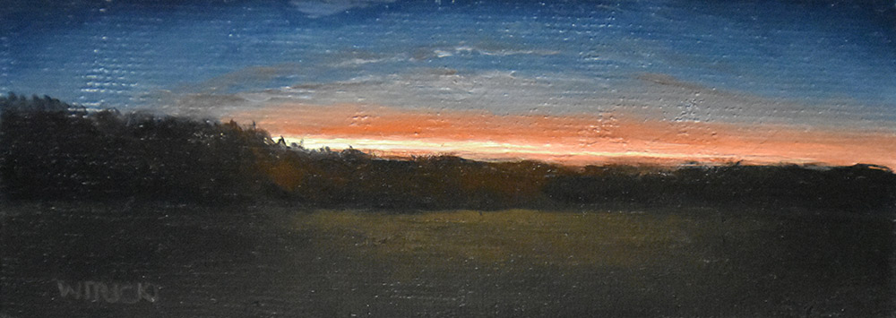 "Sean Witucki ""Sunset Beam"" 2x5 oil/linen $200."