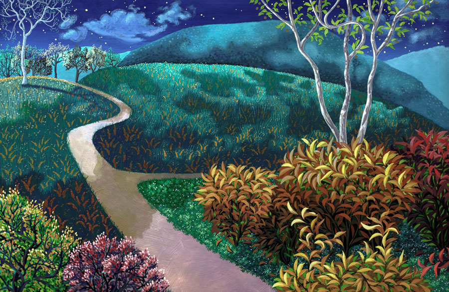 "Wynn Yarrow ""Around the Bend"" 11x17 acrylic gouache $1,200."