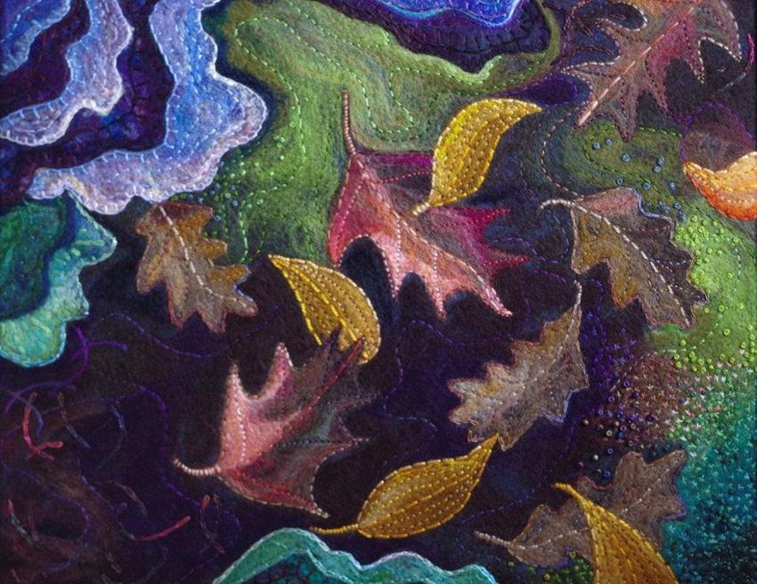 """Wynn Yarrow """"Falling"""" 14x18 felting and embroidery $850."""